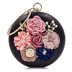 Tooba Handicraft Beautiful Flower round clutch bag purse for casual party wedding