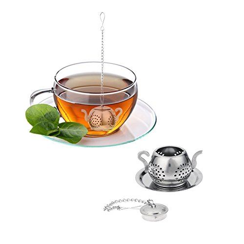 JD Million shop Tea Infuser Steel Loose Teapot Shape Tea Leaf Infuser with Cute Tray Convenient Spice Drinking Strainer Herbal Filter Drinkware