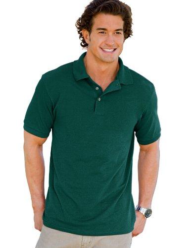 Hanes 055X Unisex ComfortSoft Pique Knit Sport Shirt Deep Forest Small