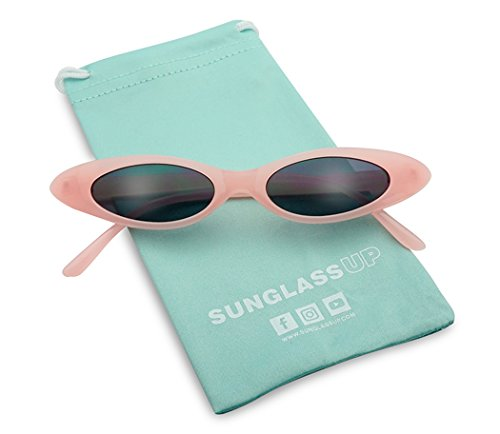 (Retro Slim Vintage Wide Oval Cat Eye Pointy Small Thin Clout Sunglasses Mod Chic Shades (Pastel Pink Frame | Black))