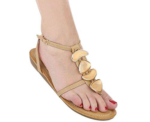 Damen Sandalen Schuhe Sommerschuhe Strandschuhe Zehentrenner Gelb Beige Coral 36 37 38 39 40 41 Beige