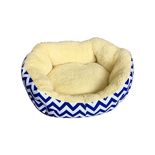 ALEKO PB18YB Plus Round Dog Pet Bed with Extra Tall Sides 18 x 14 Inches in Cream with Blue and White Zigzag