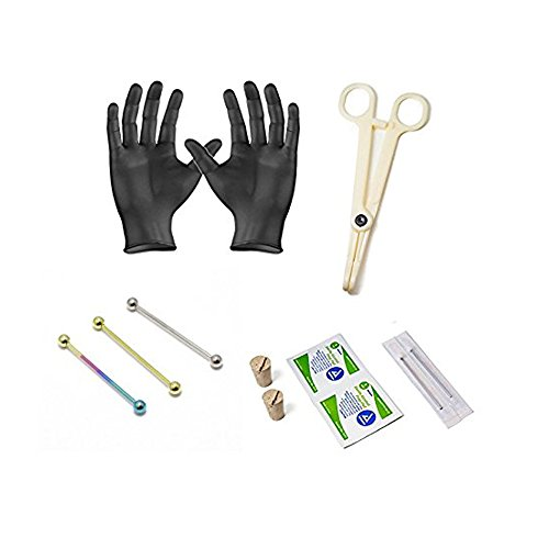 Professional Industrial Barbell Piercing Kit 12-Pieces Anodized Titanium Scaffolding Jewelry 14G 38MM