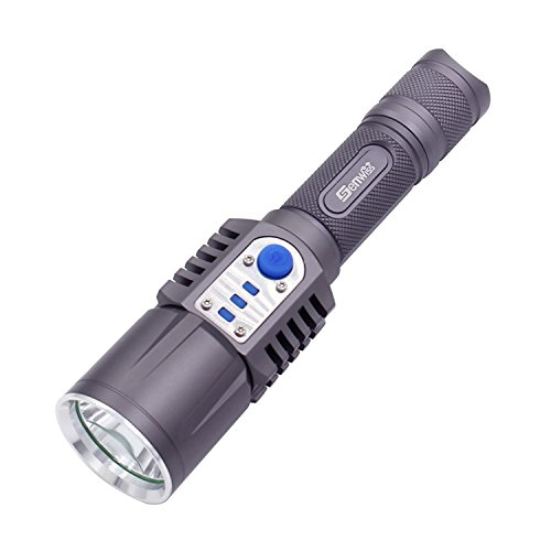 LED Tactical Ultra Bright Flashlight - Genwiss 2000 Lumen Cree XML L2 LED Torch USB Charge 5 Modes 18650 Battery Intelligent Torch External Battery Pack Power Mobile Bank for Smartphones and Tablets