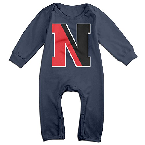 Price comparison product image PCY Newborn Babys Boy's & Girl's Northeastern University N Logo Long Sleeve Jumpsuit Outfits For 6-24 Months Navy Size 24 Months