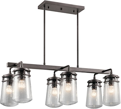 Kichler 49835AZ Six Light Outdoor Linear Chandelier (Linear Transitional Chandelier)