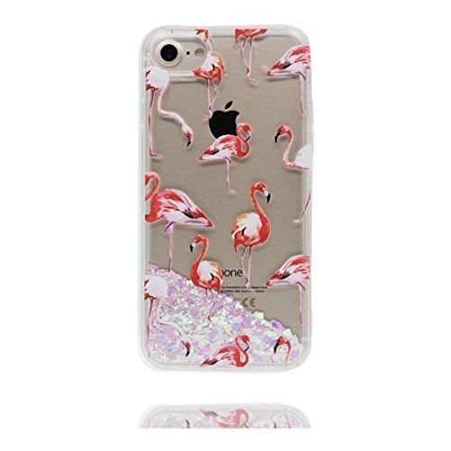 iPhone 7 Coque, Cover étui pour iPhone 7 4.7 pouces, Bling Glitter Fluide Liquide Sparkles Flowing Brillante, iPhone 7 Case anti-chocs Flamant et Bouchon anti-poussière
