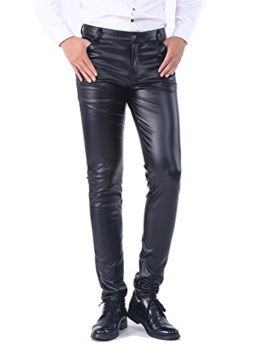 Idopy Men`s Business Slim Fit Five Pockets Faux Leather Pants Jeans Black 32