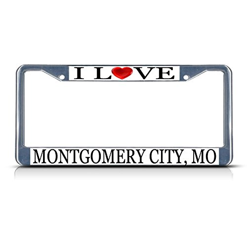 Sign Destination Metal License Plate Frame Solid Insert I Love Heart Montgomery City, Mo Car Auto Tag Holder - Chrome 2 Holes, Set of 2]()