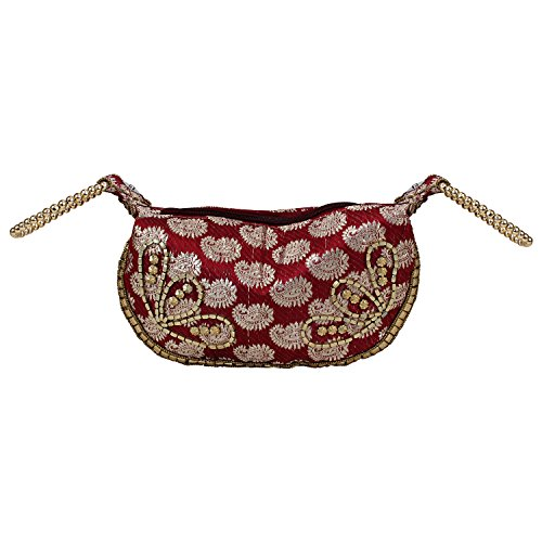 Bag Beads Bangle Brocade Wristlet Hand Potli with Maroon Bag R0q5pw0