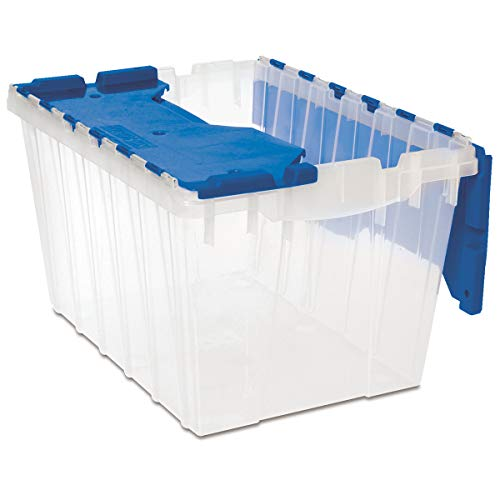 Akro-Mils 66486 CLDBL 12-Gallon Plastic Storage KeepBox with Attached Lid, 21-1/2-Inch by 15-Inch by 12-1/2-Inch, Semi Clear - Pack of - Attached Lid Storage