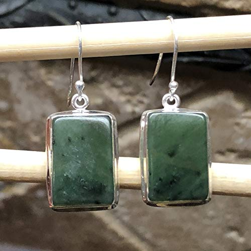 (Natural Green Aventurine Jade 925 Solid Sterling Silver Solitaire Earrings 35mm Long)