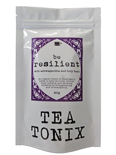 BE RESILIENT Stress Relief Tea with Ashwagandha, Holy Basil, and Eleuthero 60g - Helps the Body Recover from Stresses and Strengthens, Nourishes, and Stimulates the Adrenals by Tea Tonix