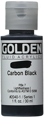 - Golden Fluid Acrylic Paint 1 Ounce-Carbon Black