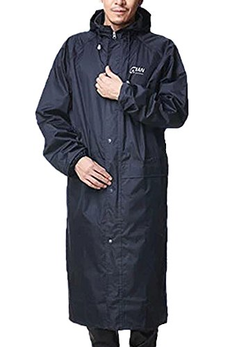 Liveinu Adult Lightweight PVC Long Size Hooded Raincoat Dark Blue 2XL (Long Raincoats For Men With Hood compare prices)