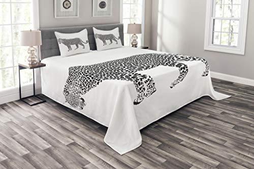 - Lunarable Safari Coverlet Set Queen Size, Jaguar Leopard Hunter Predator Spots Camouflage Illustration Monochrome, Decorative Quilted 3 Piece Bedspread Set with 2 Pillow Shams, Charcoal Grey White