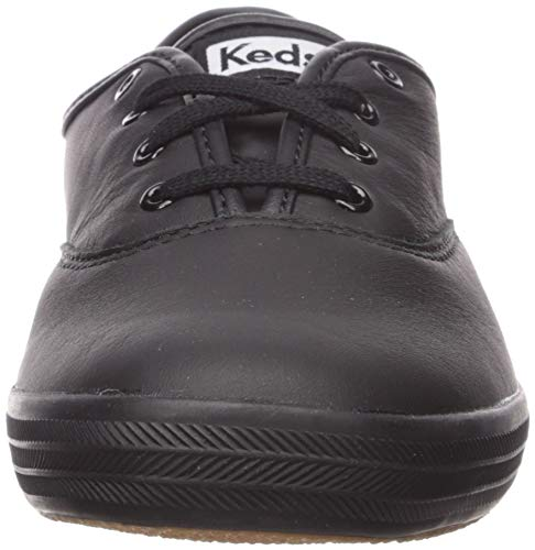 Keds Women's Champion Original Leather Lace-Up Sneaker, Black/Black, 12 Narrow US