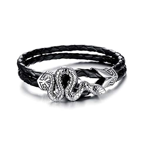 CLY Jewelry Leather Braided Wrap Bracelet Design Black with Titanium Steel Silver Desire Snake Leather Clasp Wrap Bracelet Cuff Bracelet Fashion Casual for Women Cool Style for Men