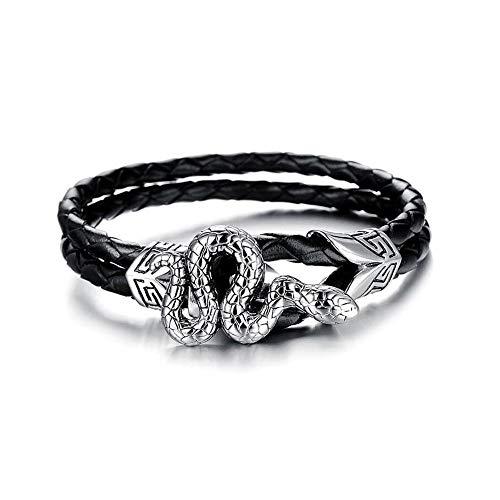 EV.YI Jewels Punk Leather Braided Bracelet with Engraved Silver Snake Pendant Stylish Gift for Men Women ()