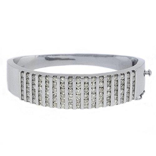 14k White Gold 5.68 Carat Round Channel Set Diamond Bangle ()