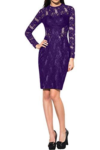 Ivydressing Damen Elegant Langarm Spitze Abendkleider Partykleid ...