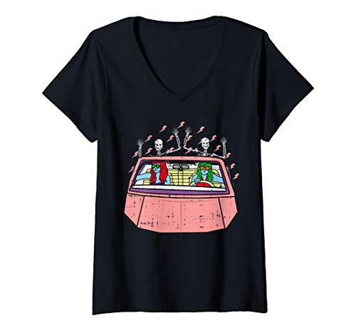 Womens Area-51 Alien Girl Roadtrip Car Skeleton Lazy Halloween Gift V-Neck T-Shirt