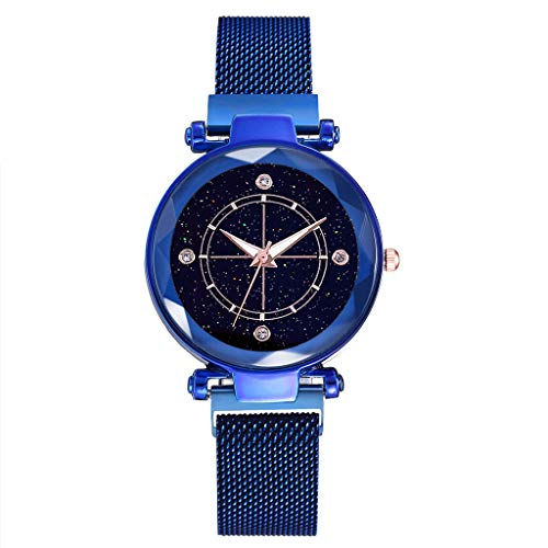 LUCAMORE Luxury Ladies Watch Magnetic Mesh Band Starry Sky Dial Rhinestone Analogue Quartz Wrist Watch for Women ()