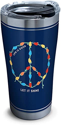 Tervis 1307428 Life Is Good-Let It Shine Stainless Steel Insulated Tumbler with Clear and Black Hammer Lid, 20oz, Silver (Life Stainless Steel)
