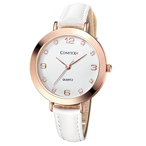 Comtex Women Quartz Watches Analogue Display White Leather Strap Fashion Simple (Rose Gold)