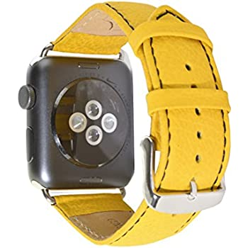 Deepra Yellow italian leather band - Compatible with 42mm Apple watch