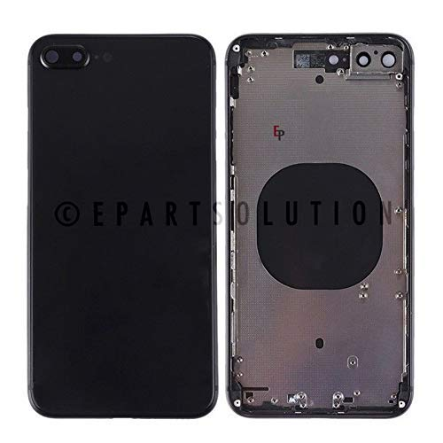 ePartSolution_Replacement Part for iPhone 8 Plus Battery Door Back Cover Housing Mid Frame + Camera Lens Glass Cover USA (Black)