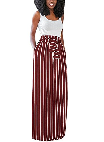 SurBepo Women's Full Length Loose Vertical Striped Long Dress With Pockets (Burgundy S)