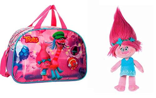 TROLLS-Pack-Bolsa-de-viajebolsa-de-deporte-TROLLS-FRIENDS-40cm-Peluche-Trolls-Princesa-Poppy-37-cm