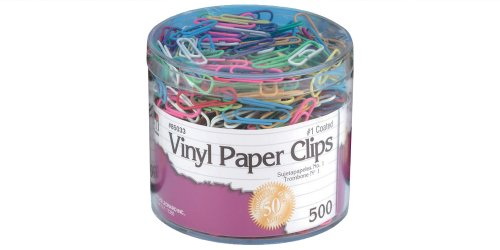 - Charles Leonard Vinyl Coated Paper Clips, Size #1, Assorted Colors, 500/Box (85033)