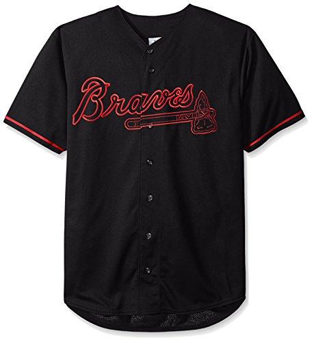 MLB Atlanta Braves Men's Short Sleeved Texture Replica Jersey with Pop Applique, 3X, Black