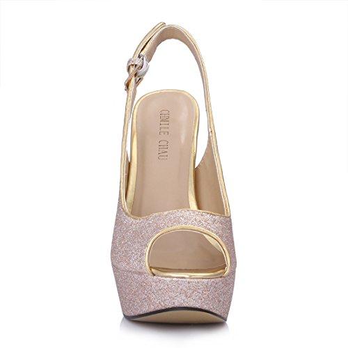 CHMILE CHAU Damenschuhe-Pumps Stiletto-Dünne Fersen-Hoher Absatzschuhe-Elegante-Abiball-Hochzeit-Brautschuhe-Abendschuhe-Peep Toe-Slingback-Plateau 3cm Gold