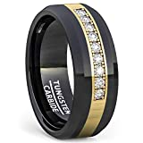 Duke Collections 8mm Polished Tungsten Ring Gold Inlay with Cubic Zircon Comfort Fit (9)
