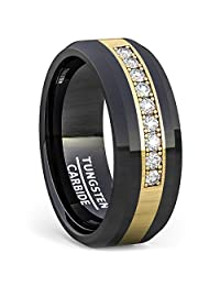 Duke Collections 8mm Black Tungsten Carbide Ring with Brilliant Stones in Rose Gold Inlay Polished Beveled Edge Comfort Fit