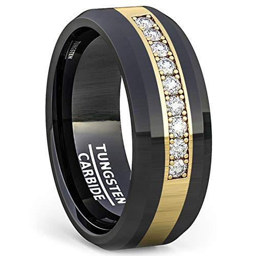 Duke Collections 8mm Polished Tungsten Ring Gold Inlay with Cubic Zircon Comfort Fit (9) (Hematite Mens Wedding Ring)