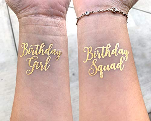 (10 PCS Birthday Girl and Birthday Squad Temporary gold foil tattoo flash tat 16 18 21 dirty 30 30 40 50 Birthday Girl)