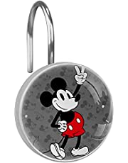 Classic Mickey Mouse Shower Curtain Hooks Rings 12 PCS Crystal Glass Shower Curtain Hooks Rustproof Curtain Rod Hangers Shower Rings Decorative for Bathroom