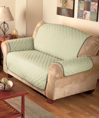 Sage/Olive Reversible Quilted Loveseat Cover