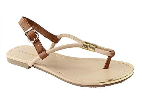 City-geclassificeerde-tabia Vrouwen Goud Metalen Decor Gesp Slingback Riem String Platte Sandalen Nude / Tan
