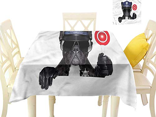 WilliamsDecor Waterproof Table Cloth Police,Pug Dog Police Costume Square Tablecloth W 54