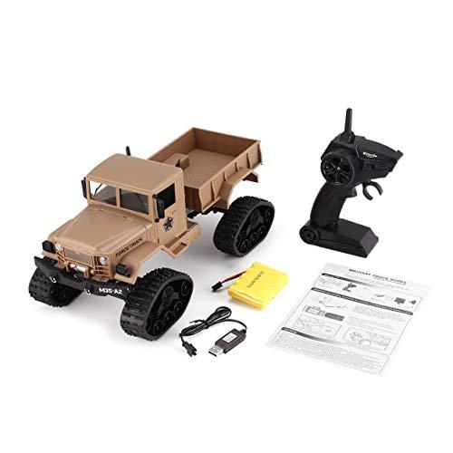 FY001B 2.4Ghz 1/16 4WDキャタピラーオフロードRCミリタリートラッククライマーRC車子供のためのフロントライト付きおもちゃギフト(:黄)