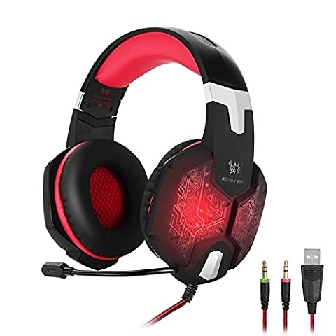 ENVEL Gaming Headset G1000 Professional 3.5mm PC Bass Stereo Headphones Earphones Headband with Mic Microphone Colorful Breathing LED Light for Laptop Computer (Black & - Xbox 360 Usb Headset