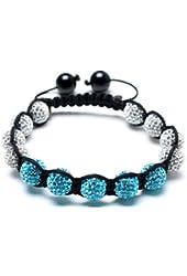 Alaska shamballa inspired bracelet | white and blue shamballa bracelet | clear and blue crystal bangle | women's shamballa bracelet | Cubic Zirconium Shamballa (by BAGATI CRYSTO)