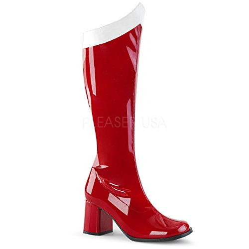 Funtasma Women's Gogo-306 Knee High Boot, Red/White Stretch Patent, 10 M US - Red Patent Knee Boots