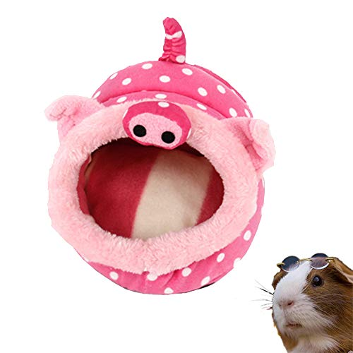 PULEIDI Guinea Pig Bed – Washable Guinea Pig Cage Accessories Small Animal Bed Hideout for Guinea Pig,Chinchilla,Hamsters,Hedgehog – Pink Pig Style