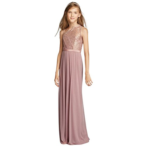One Shoulder Long Lace Bodice Dress Style Jb9014 Rose Gold Metallic 6